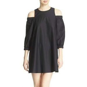 Tibi Cold-Shoulder Mercerized Cotton Poplin Dress